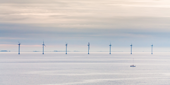 Stock photo of offshore wind turbines